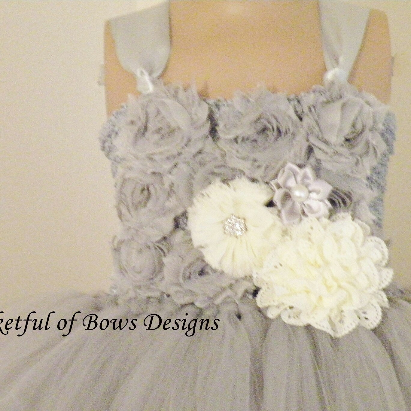 Silver Flower Girl Tutu Dress Girls Gray Ball Gown With Etsy
