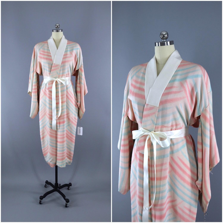 Vintage Silk Kimono Robe / Vintage Dressing Gown / Vintage | Etsy