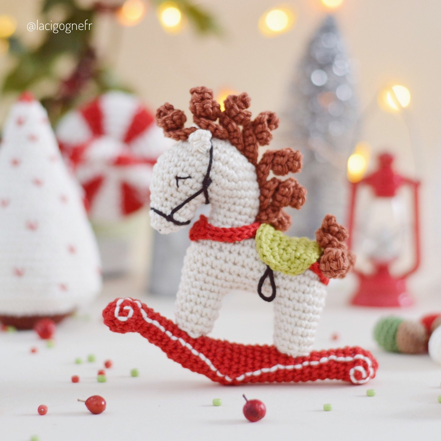 Christmas Rocking Horse Crochet Ornament And Holiday Decor Etsy