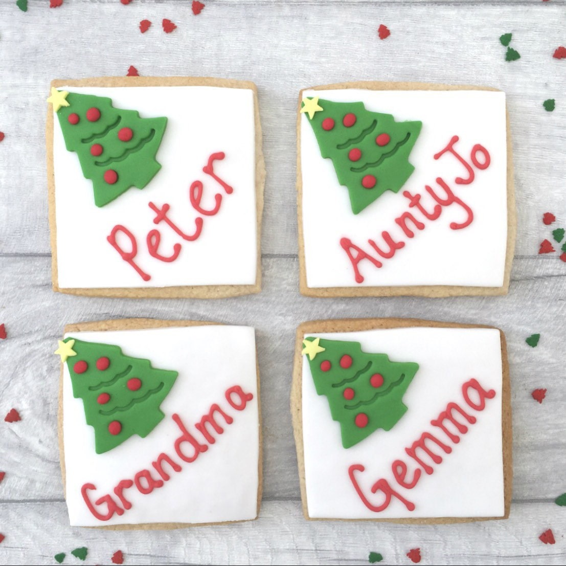 Christmas place name cards edible name cards personalised | Etsy