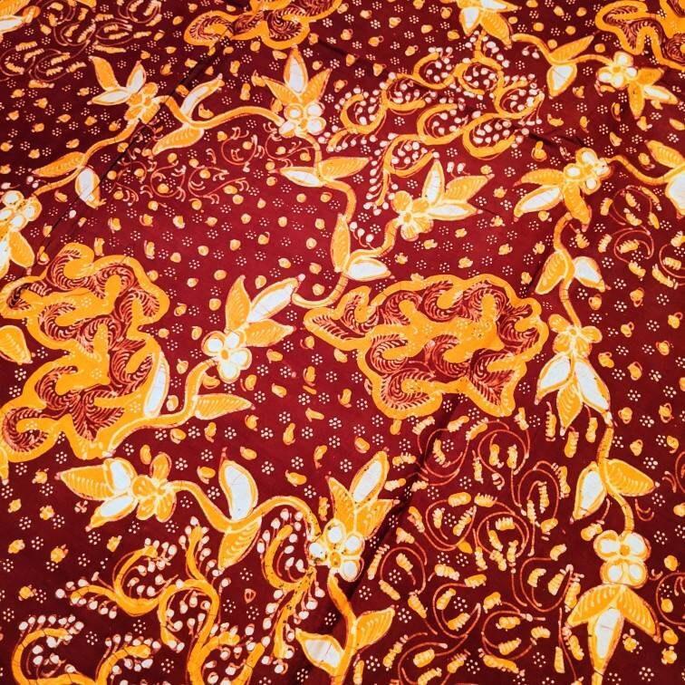Full Batik Tulis Tanjungbumi Hand Drawn Indonesian Batik with Stripe Floral Made in Indonesia Orange Brown Indonesian Batik Fabric