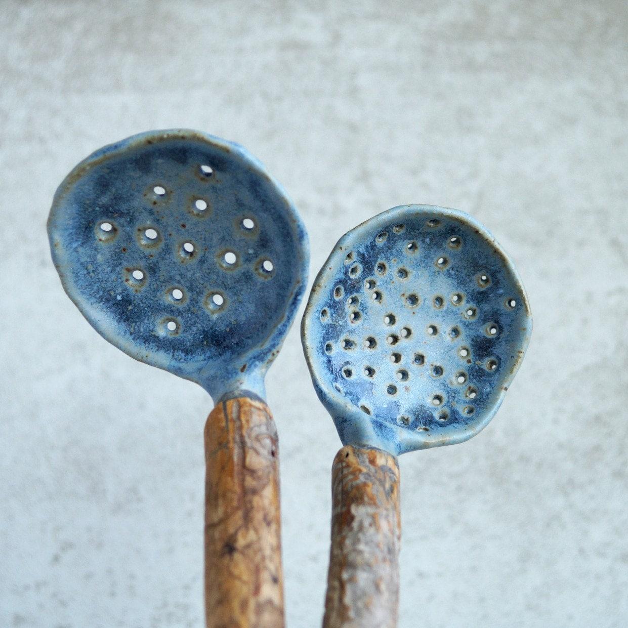 Handmade Ceramic Espumadera Real Wood Handle Ladle Rustic | Etsy