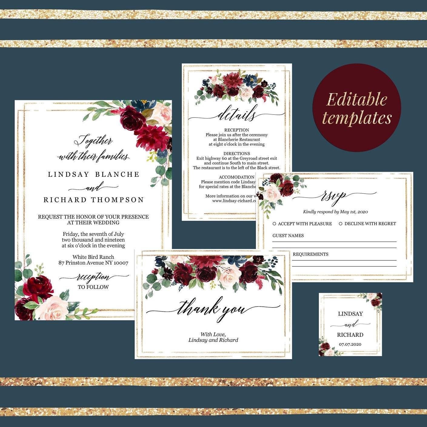 Burgundy Wedding invitation suite printable gold Wedding Invitation set printable marsala wedding invitation set suite personalized menu,61c