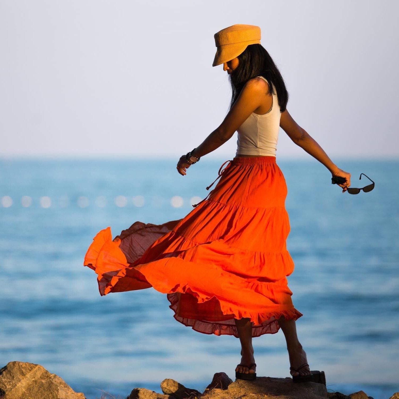 0d69eb162b Tiered orange peasant maxi skirt | Long boho orange cotton flare skirt
