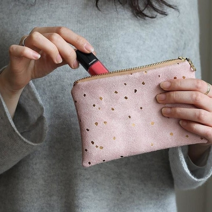 Bronze and Pink Zip Pouch Bridesmaid Gift Ideas Faux Suede  74b6c65d47fc7