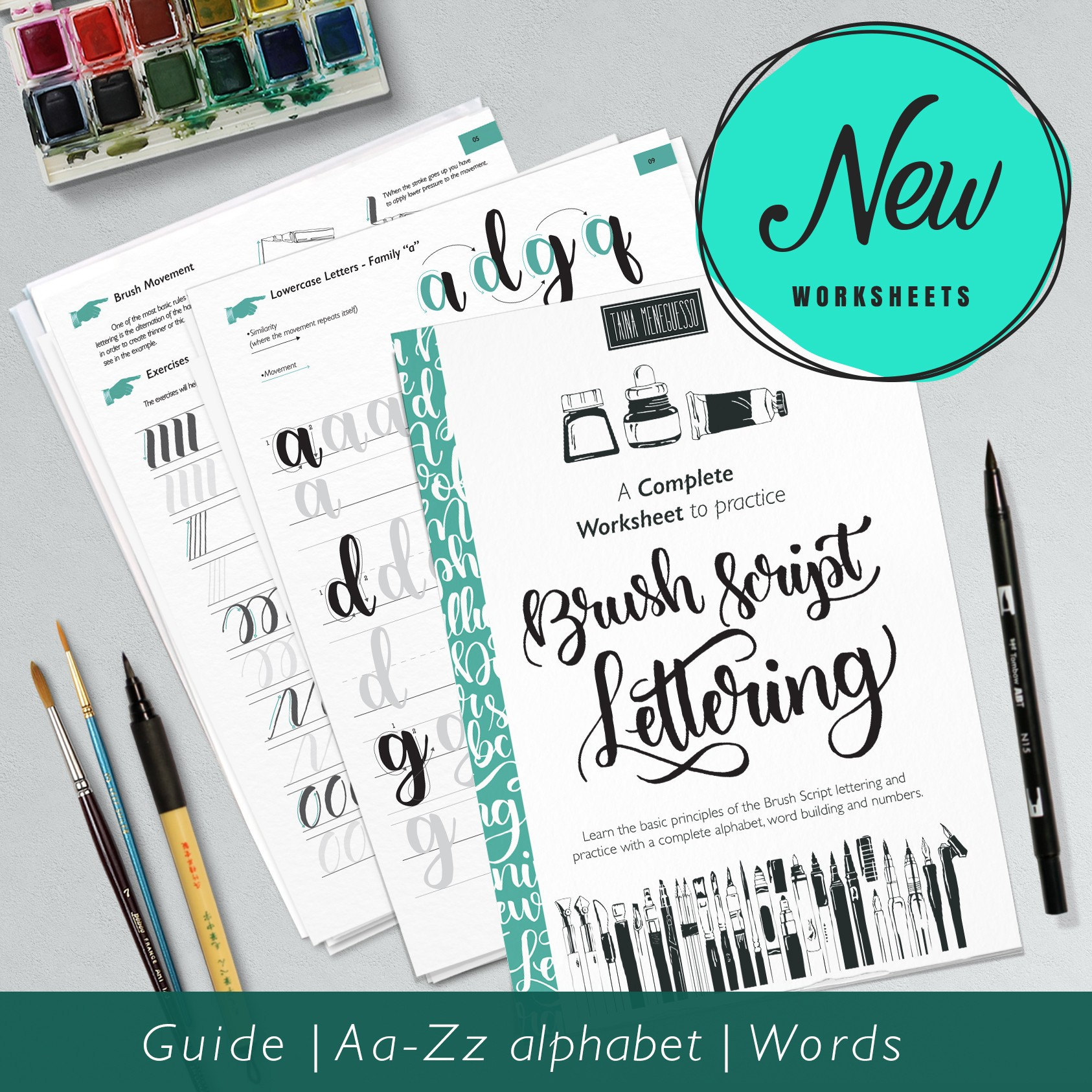 Learn Brush Hand Lettering printable worksheets with | Etsy
