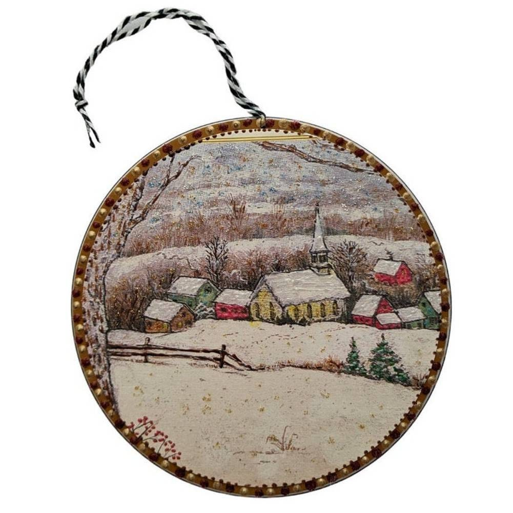 Hand painted upcycled ornament