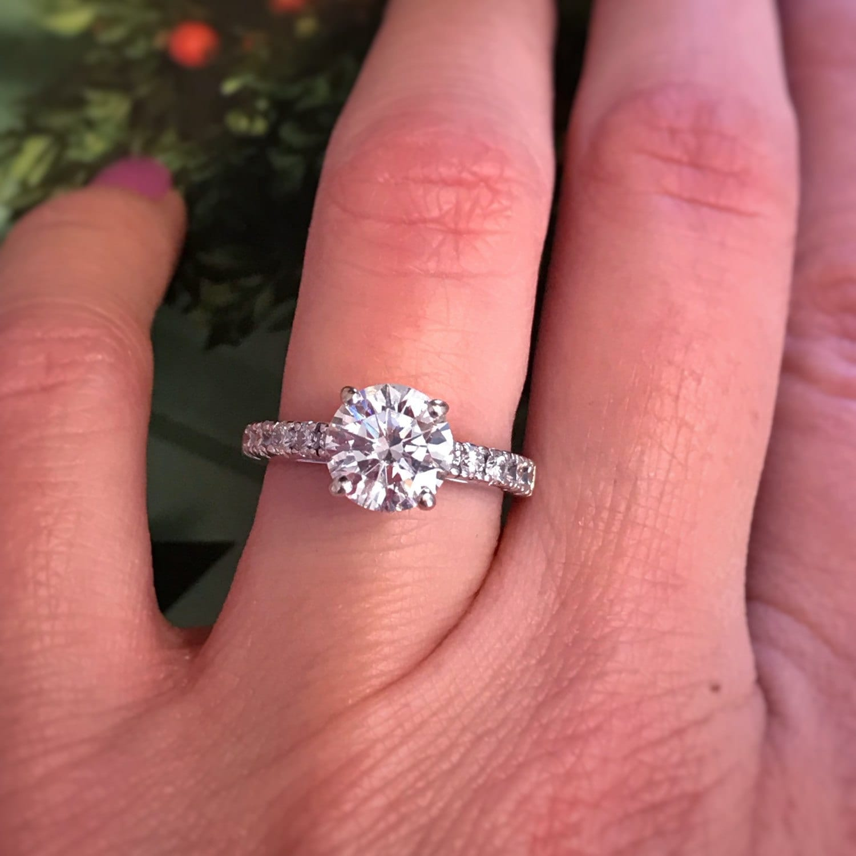 2.10 carat 1.60 carat center Diamond Engagement Ring.