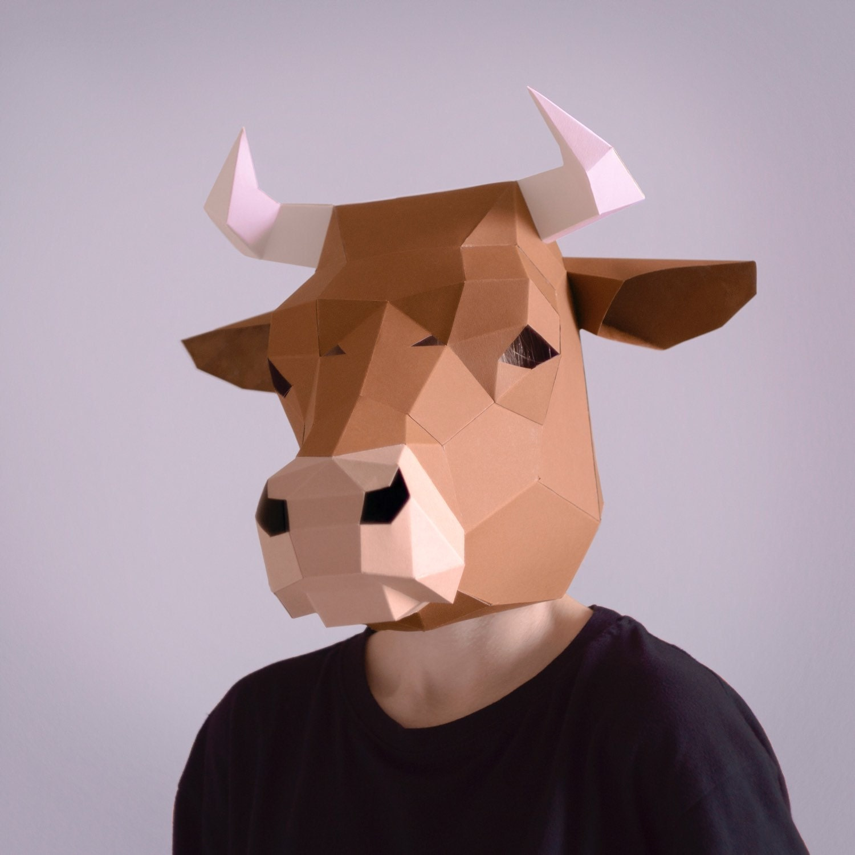 Paper Mask Instant Pdf download Printable Mask DIY template Make your own Bull Skull Mask
