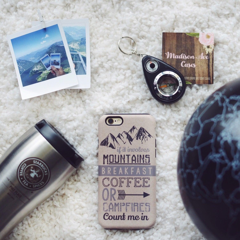 Teléfono iPhone caso montañas desayuno café fogatas Travel