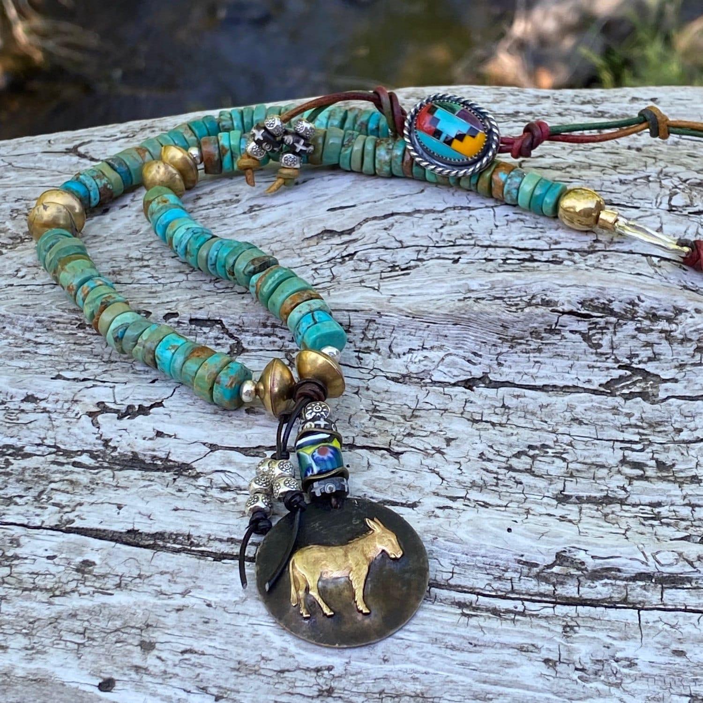 Artistic Bohemain Blue Mountain Jasper Beaded Necklace
