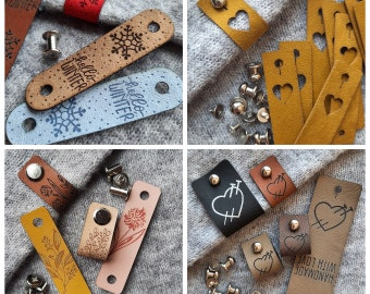 Tags with metal rivets