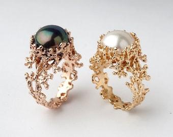 Coral Pearl Rings