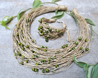 raw linen necklaces
