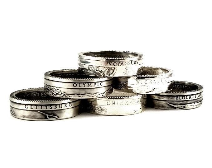 Silver Quarter Rings