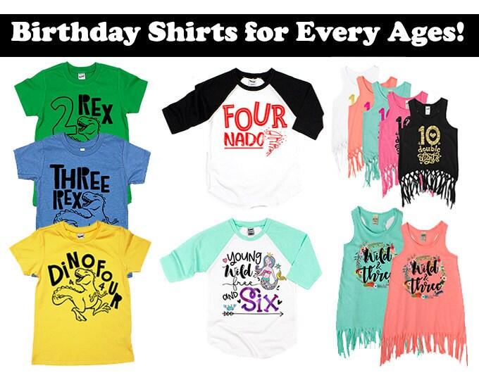 Personnalisé anniversaire garçon dinosaure age t shirt top anniversaire 3rd 4th 5th 6th