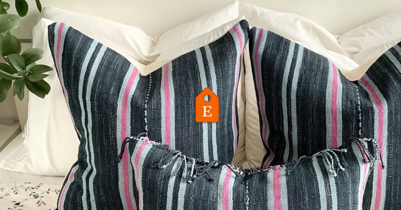 Oriental tribe throw pillow cover, Hand woven, Karen, Hmong, Black , pink, accent pillow, black pink striped pillow , sofa, blue cushion