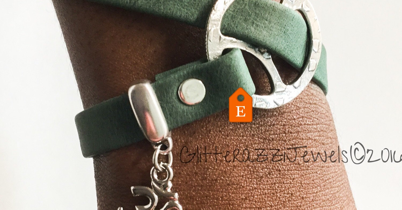 20298929b3 Leather charm bracelet silver trim Yoga Meditation Mindfulness