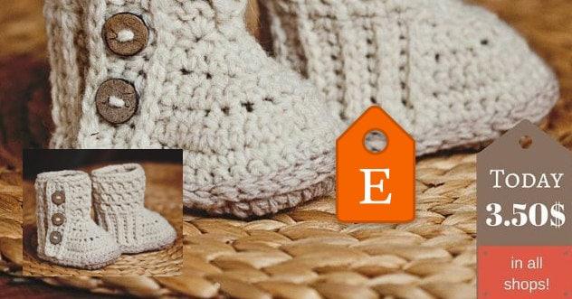 Baby Booties Crochet PATTERN Polar Buttoned Boots  dfc3c47a17c2